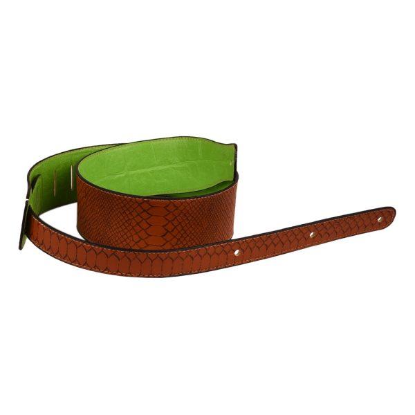 Faux Snake Skin Guitar Strap, Green